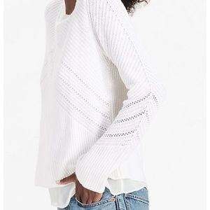 Lucky Brand White Layered Nico Pullover Sweater